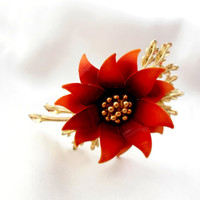 Coro Flower Brooch in Brown and Gold
