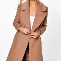 Poppy Oversized Collar Wool Look Coat | Boohoo