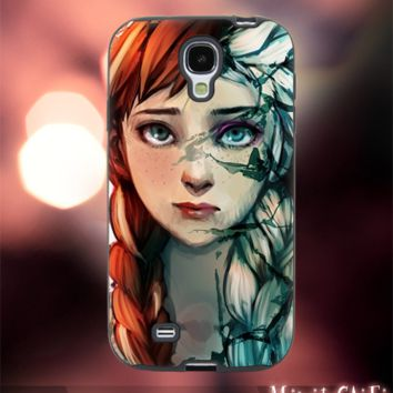 MC106Y39,frozen,elsa and anna,painting -Accessories case cellphone-Design for Samsung Galaxy S5 - Black case - Material Soft Rubber