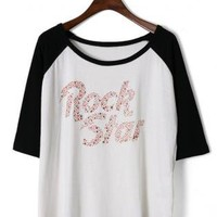 Sequined letters T-Shirt S010543