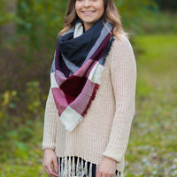 Burgundy Wide Check Blanket Scarf