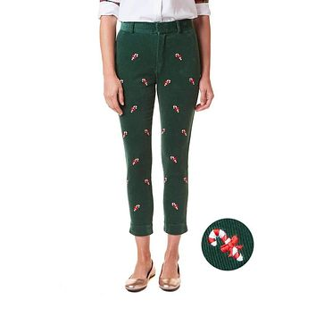 Ladies Beachcomber Stretch Corduroy Ankle Capri with Embroidered Candy Canes by Castaway Clothing