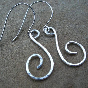 Sterling Silver Hammered Earrings, Handmade Swirl Earrings