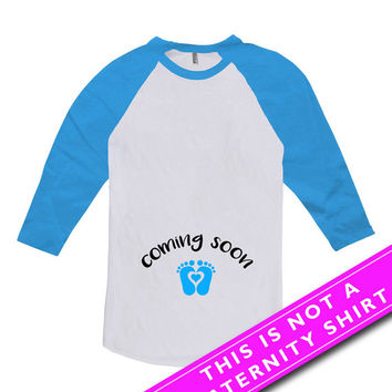 Pregnancy Announcement Shirt Baby Announcement Maternity Clothing Coming Soon Mother To Be Gift American Apparel Unisex Raglan MAT-551