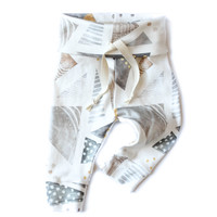 Organic Drawstring Baby Leggings Gold Watercolor