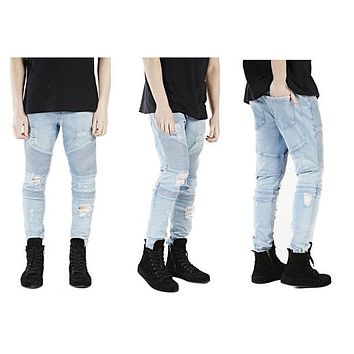 Casual Denim distressed Slim Biker skinny rock ripped jeans