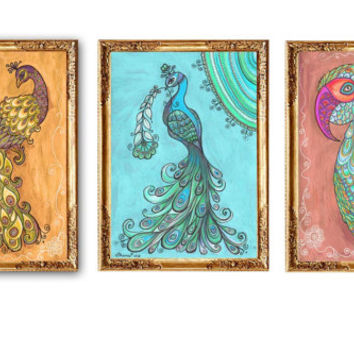 3 Art Prints Parrot Peacock painting, Ethnic Indian Art, Parrot Peacock Drawing Print, Yoga Boho Zen Gift idea, Nursery Colorful Room Decor