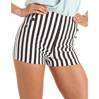 Striped High Waisted Millennium Short: Charlotte Russe