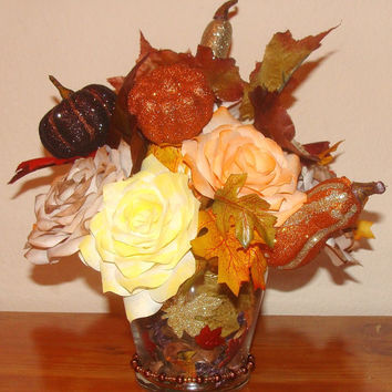 Wedding Centerpiece, Fall Wedding Decoration, Silk flowers, Fake flower decor, home decor, Coffee filter paper decor, floral arrangements