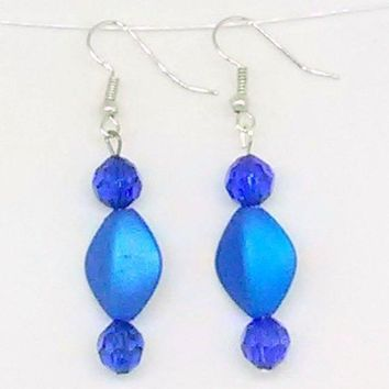 Blue Diamond and Faceted Round Beaded Earrings