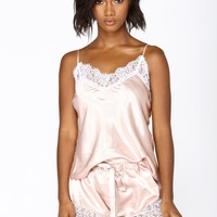 Needs Attention Satin Pj Set - Rose
