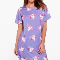 Jessica Unicorn Print Nightie | Boohoo