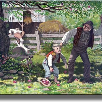 Boy Stealing Apples Picture Made on Acrylic Wall Art Decor Ready to Hang!.