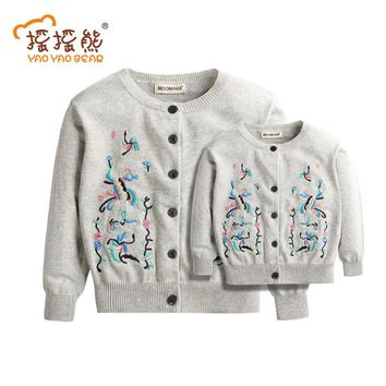Embroidery Cardigan Mother and Daughter Sweater Family Matching Sweaters Coats Clothes Geometric Mother and Daughter Sweater