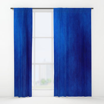 Misty Deep Blue Window Curtains by Colorful Art