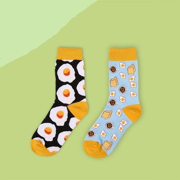Coffee, Eggs, Breads, Cupcakes, Donuts - Socks Funny Crazy Cool Novelty Cute Fun Funky Colorful