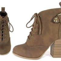 Lace Up Bootie in Brown