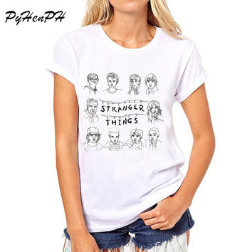PyHen New 2017 Stranger Things T Shirt Women Short Sleeve tops tee shirt female summer womens t-shirts american apparel