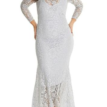 White Plus Size High Neck Lace Fishtail Maxi Wedding Party Dress