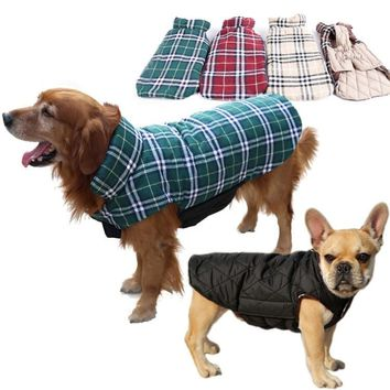 Reversible Plaid Dog Jacket for Small to Large Dogs