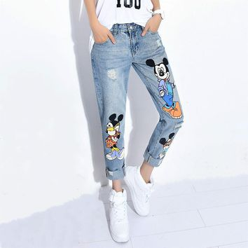 Boyfriend Jeans For Women's Ripped Jeans Denim Pants Female Loose Hole Harem Trousers Mickey Woman Pants 2016 New Arriving