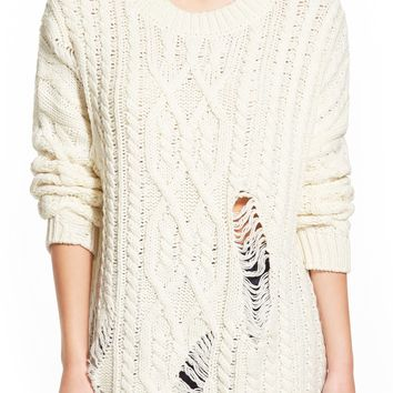 J.O.A. Destroyed Cable Knit Pullover | Nordstrom