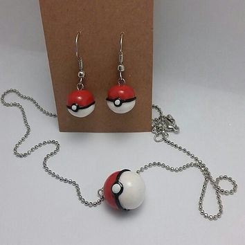 Pokeball Earring & Necklace Set