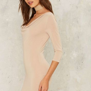On the Cowl Mini Dress - Beige