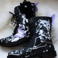 Black womens combat boots, Coachella festival Butterfly Boots, True Rebel Clothing