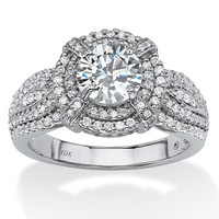 2.08 TCW Round Cubic Zirconia Double Halo Ring in 10k White Gold on PalmBeach Jewelry