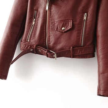 Fall/ Winter  2016 Collection of Women's Casual  Urban or Street Designer Style Wine Red Faux Leather Motorcycle Jacket with Belt