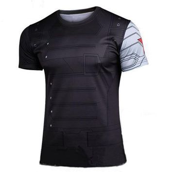 Marvel Super hero Avenger Batman Captain America T shirt Men Compression Armour Base Layer Thermal Under new Causal Tee