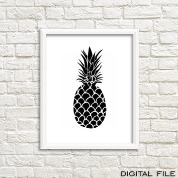Printable art Minimalist poster Scandinavian Black and white pineapple print pineapple decor pineapple wall art sign hawaii art hawaii print
