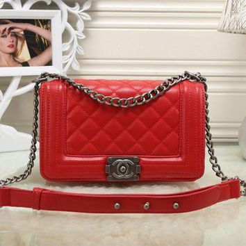 LMFON Chanel' Women All-match Fashion Personality Quilted Metal Chain Single Shoulder Messenger Bag Flip Small Square Bag