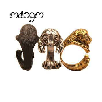 Adjustable Open Sloth Animal Ring Cute Funny Jewelry Antique Retro Gold Silver For Women Men Female Punk Birthday Party Gift