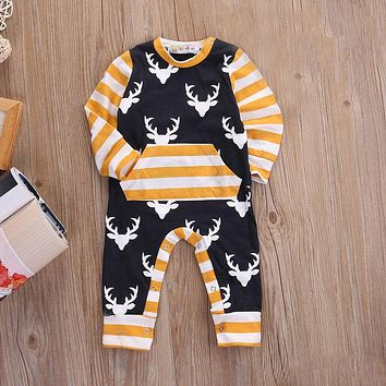 Newborn Toddler Baby Boys Clothes Deer Long Sleeve Rompers Cotton Striped Jumpsuit Baby Boy Outfits Autumn Clothing