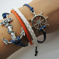 silvery  Anchor Rudder Leather and navy blue Ropes Women Cuff Bracelet Unisex bracelet  1113A