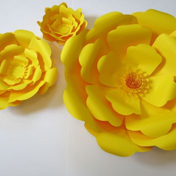 "yellow giant paper roses flower wall, set of 3 6-16"" rose, photography background, nursery decor wall decal, 3D hanging paper sculpture mural"