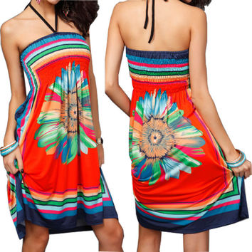 1 Pc Sexy Women Floral Vintage Summer Boho Dress Elastic Paisley Halter Tunic Dress