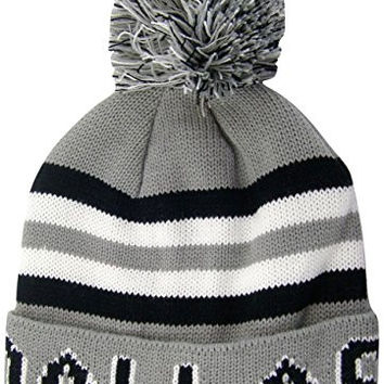 Dallas 4-Color Striped, Cuffed, Knitted Winter Toboggan Hat Cap with Pom Pom (Gray)