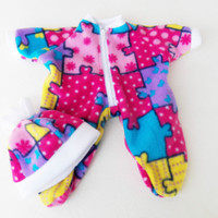 "Bitty Baby Pajamas, HANDMADE, fits 15"" Girl Doll, Pink Fleece Pajamas Hat Puzzle"