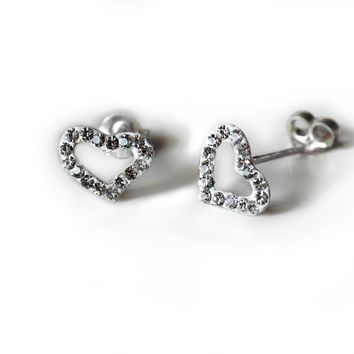 Gellie Open Heart Earrings with Crystals, 925 Sterling Silver