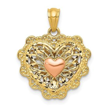 14k Two Tone Gold 16mm Reversible Filigree Heart Pendant