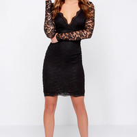 LULUS Exclusive Lady in Charge Black Lace Midi Dress