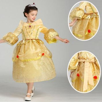 DCCKH6B High quality Princess Sleeping Beauty cosplay Costume For Kids Children girl  Clothing Girl Aurora Fancy yellow Dress
