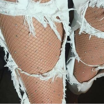 Crystal Adorned Fishnet Stockings 4 Colors