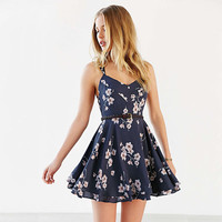 Floral Printed Spaghetti Strap Criss Cross Strappy Back Mini Dress -03121