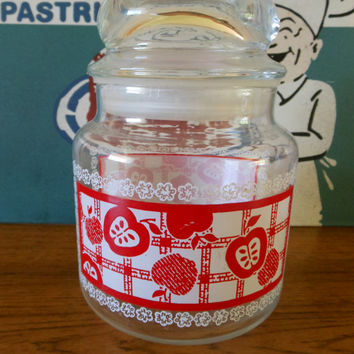 Anchor Hocking Apple Canister, Apple Candy Dish, Anchor Hocking/Fire King Small Cookie Jar, Fire King Red Apple Gingham Jar