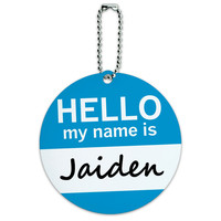 Jaiden Hello My Name Is Round ID Card Luggage Tag