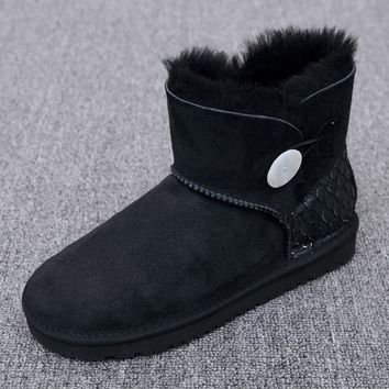 Australia/ sheep skin wool one snow boots female buckle with winter flat bottomed warm short boots, free shipping